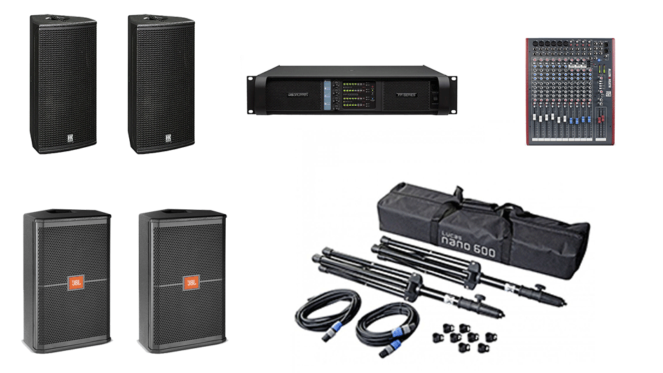 PA Hire Package 1, 2 HK Audio CT112 Speakers on stands, 2 JBL SRX712m monitors, 1 Allen and Heath Zed-14 Mixer, powered by Lab.Gruppen FP Series with microphones, DI Boxes and cabling included.