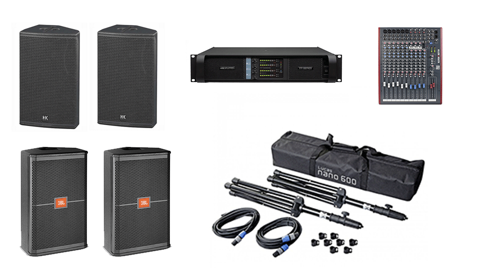 PA Hire Package 2, 2 HK Audio CT115 Speakers on stands, 2 JBL SRX712m monitors, 1 Allen and Heath Zed-14 Mixer, powered by Lab.Gruppen FP Series with microphones, DI Boxes and cabling included.